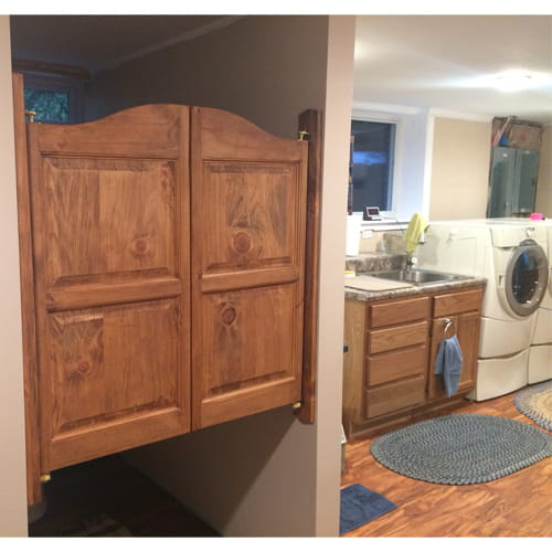 Arch Top Raised Panel Saloon Doors- Stained Pine Wood